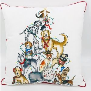 NEW Festive Dog Christmas Holiday Pillow White